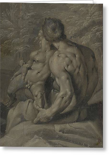 Two Male Nudes Cornelis Cornelisz Van Haarlem Greeting Card