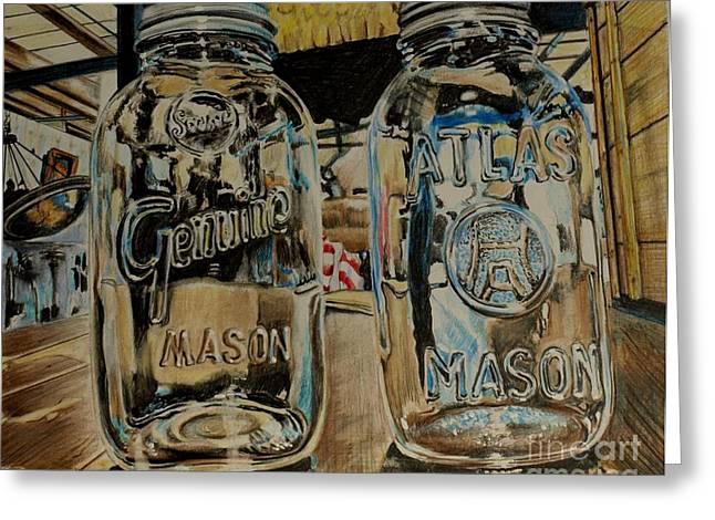 Two Mason Jars Greeting Card by Jackie Bryant