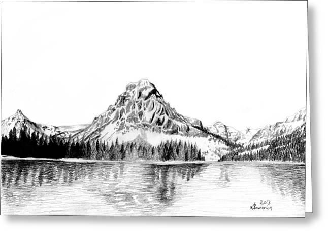 Two Medicine Mountain Greeting Card by Kayleigh Semeniuk
