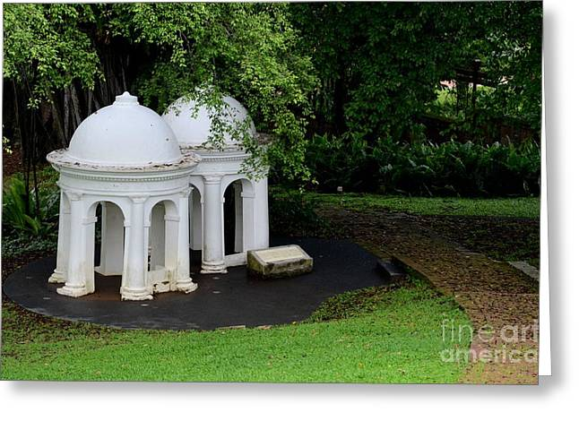 Two Meditating Cupolas In Fort Canning Park Singapore Greeting Card by Imran Ahmed