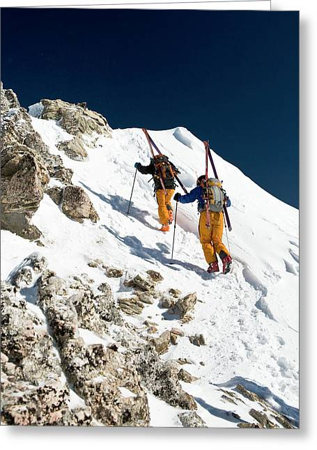 Two Men Backcountry Skiing Hike Greeting Card
