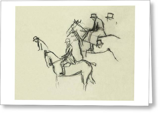 Two Men Horse Riding Greeting Card