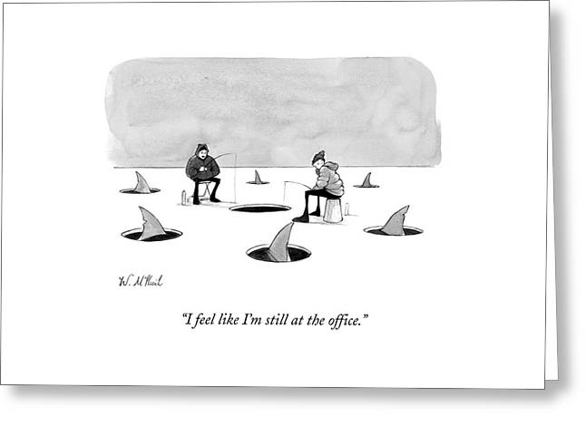 Two Men Ice Fishing Greeting Card