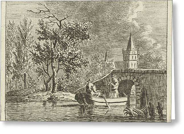 Two Men In A Rowing Boat Directly Behind A Stone Bridge Greeting Card by Artokoloro