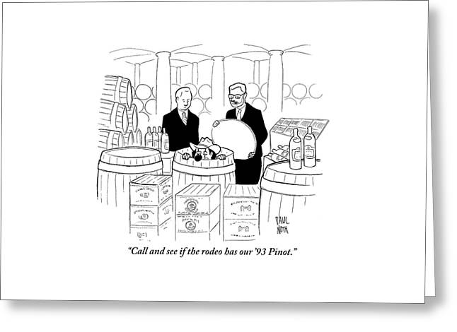 Two Men In A Wine Cellar Find A Clown In One Greeting Card by Paul Noth