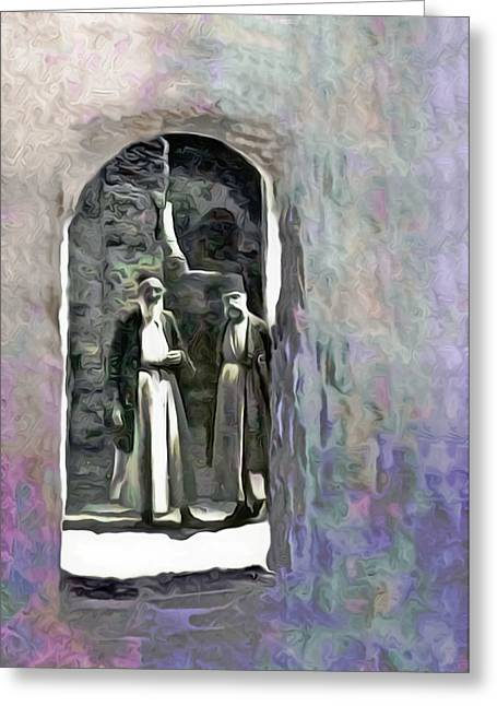 Two Men In Hebron During 1921 Greeting Card by Munir Alawi