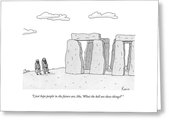 Two Men In Robes Chat Beside Stonehenge Greeting Card