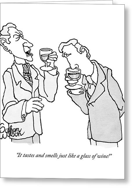 Two Men In Suits Hold Wine Glasses.  One Greeting Card
