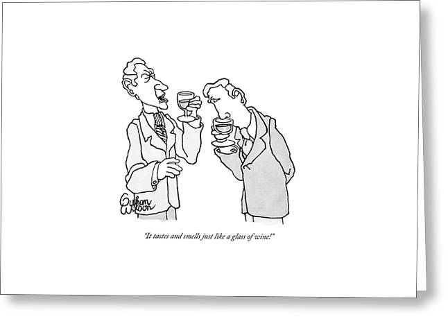 Two Men In Suits Hold Wine Glasses.  One Greeting Card by Gahan Wilson