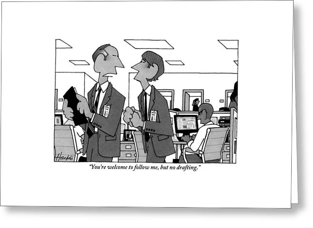 Two Men In Suits Walk Through An Office Greeting Card by William Haefeli