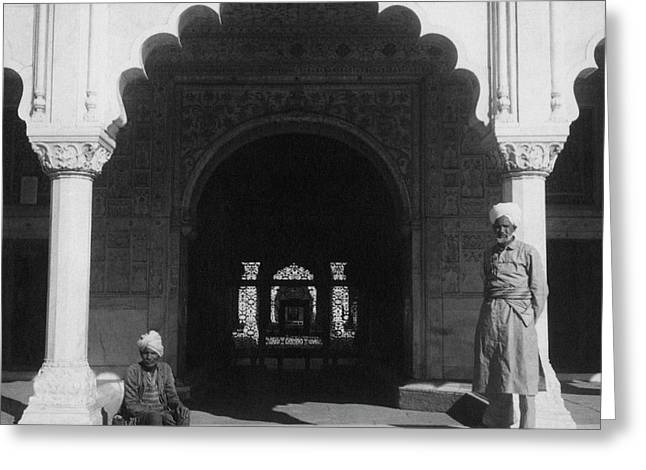 Two Men In The Courtyard Of Red Fort In Delhi Greeting Card by Cecil Beaton