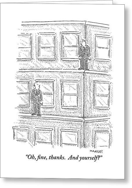 Two Men On Different Ledges Of A Building Greeting Card