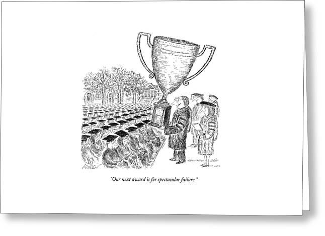 Two Men On Stage Giving Awards And Trophies. One Greeting Card by Edward Koren