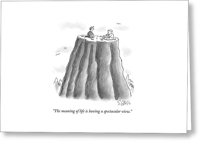 Two Men On Top Of The Plateau Of A Large Mountain Greeting Card by Sam Gross