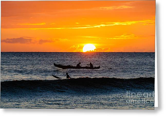 Two Men Paddling A Hawaiian Outrigger Canoe At Sunset On Maui Greeting Card