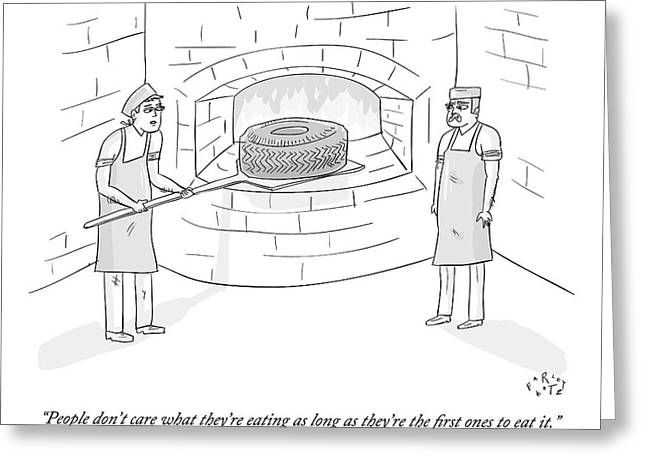 Two Men Place A Car Tire Into A Brick Oven Greeting Card