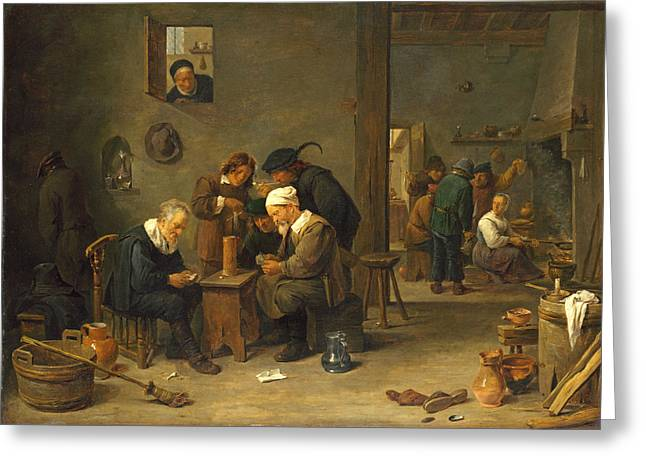 Two Men Playing Cards In The Kitchen Of An Inn Greeting Card by David Teniers the Younger