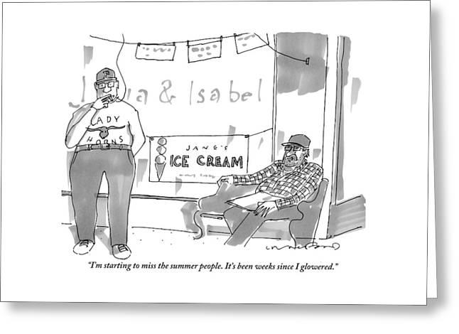 Two Men Sit Outside An Ice Cream Shop Smoking Greeting Card