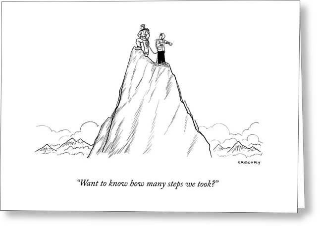 Two Men Stand At The Peak Of A Mountain.  One Man Greeting Card