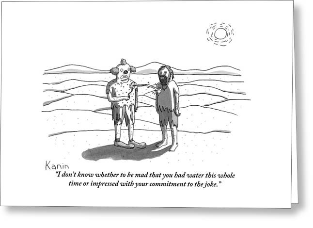 Two Men Stand In A Desert: One Is Dressed Greeting Card