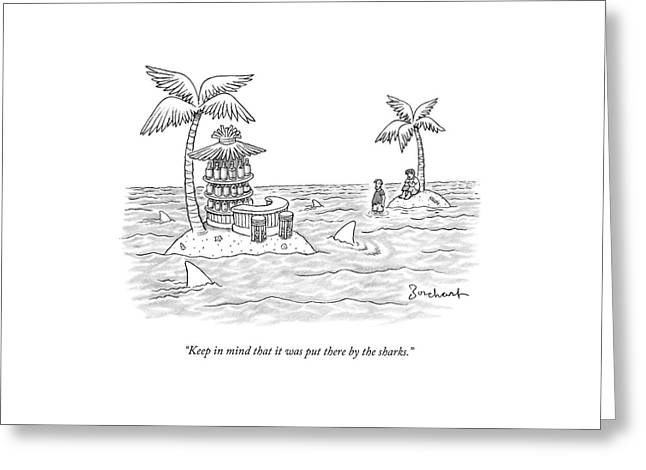 Two Men Stand On A Desert Island Greeting Card by David Borchart