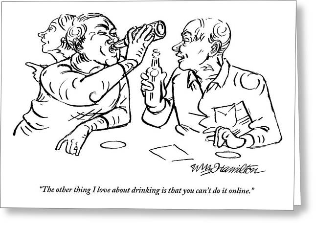 Two Men Talk In A Bar Holding Beer Bottles Greeting Card