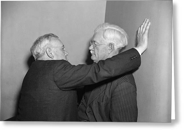 Two Men Talking Greeting Card by Harris & Ewing