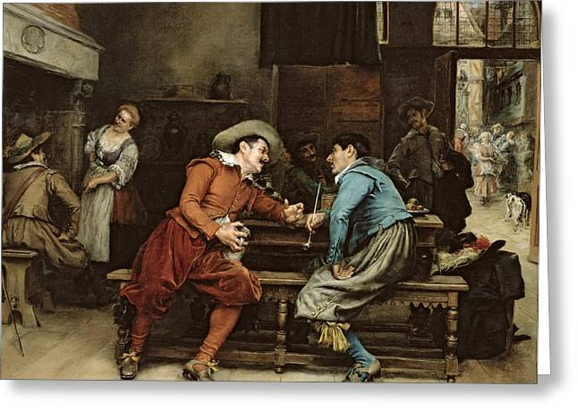 Two Men Talking In A Tavern Greeting Card by Jean Charles Meissonier