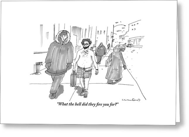 Two Men Walk Down The Sidewalk Together: One Greeting Card by Michael Crawford