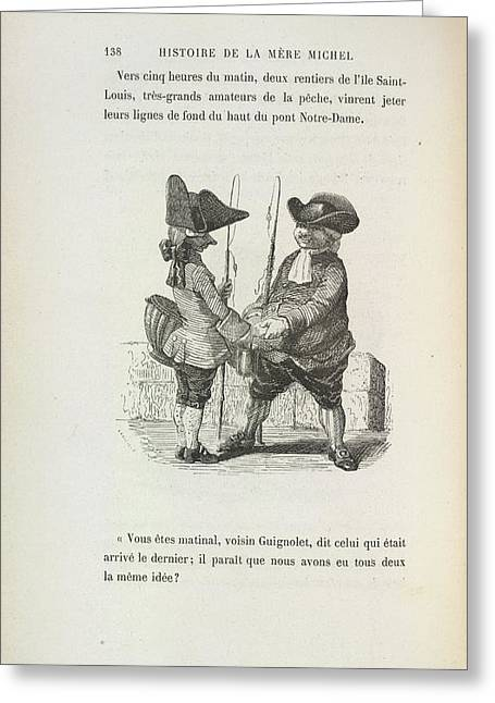 Two Men With Fishing Rods Greeting Card by British Library