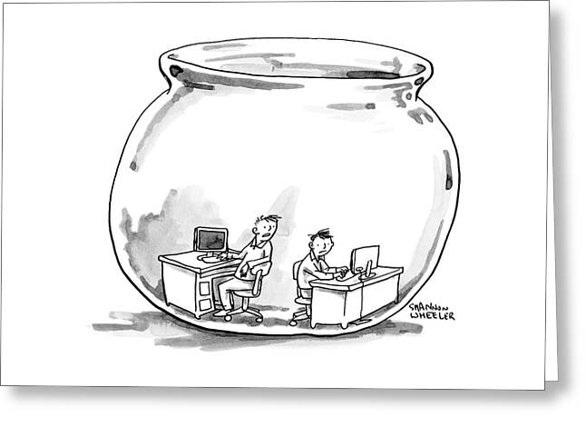 Two Men Work At Computer Desks In A Fish Bowl Greeting Card