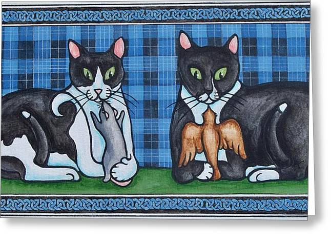 Two Mewses Greeting Card by Beth Clark-McDonal