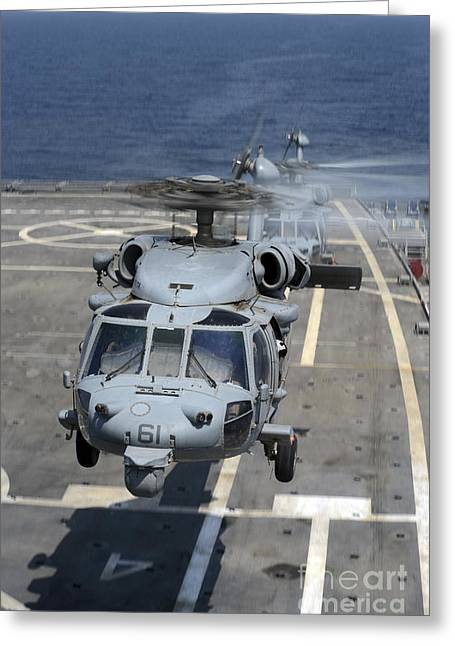 Two Mh-60s Sea Hawk Helicopters Take Greeting Card by Stocktrek Images