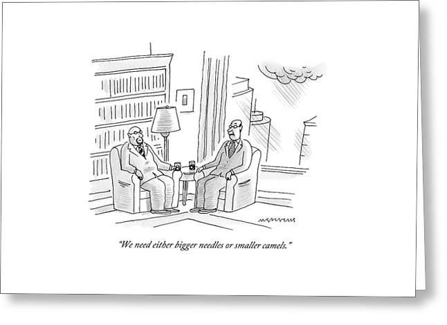 Two Middle Age Men In Suits Talk In An Office Greeting Card by Mick Stevens