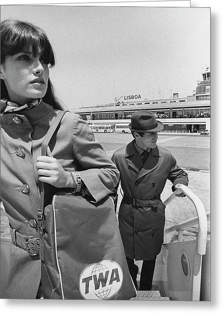 Two Models Boarding A Plane Greeting Card by Leonard Nones