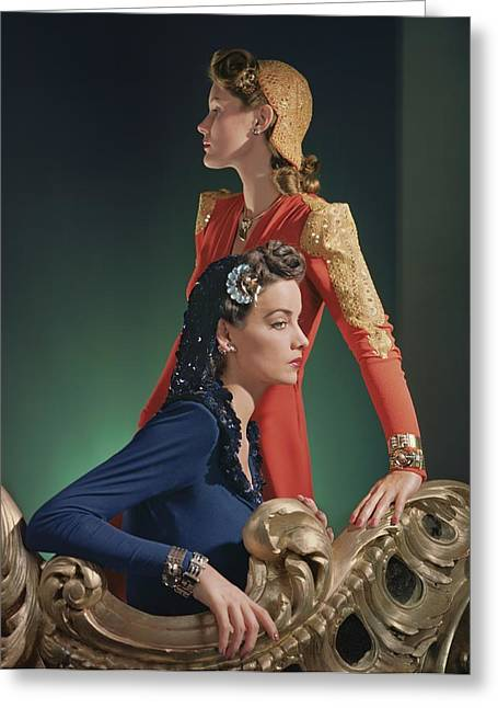 Two Models Wearing Evening Gowns Greeting Card by Horst P. Horst