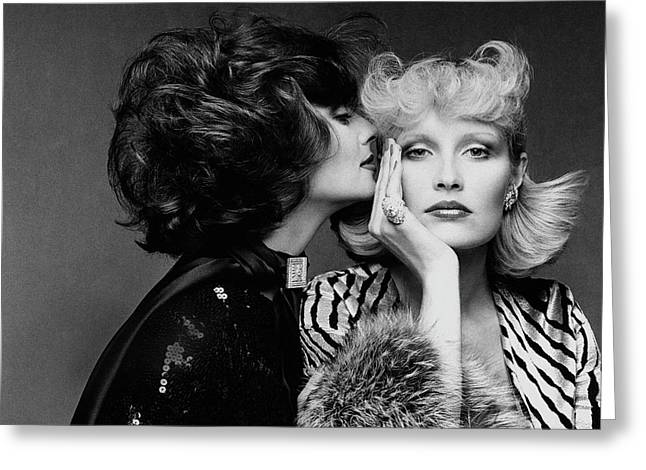 Two Models Wearing Wigs By Edith Imre Greeting Card by Francesco Scavullo