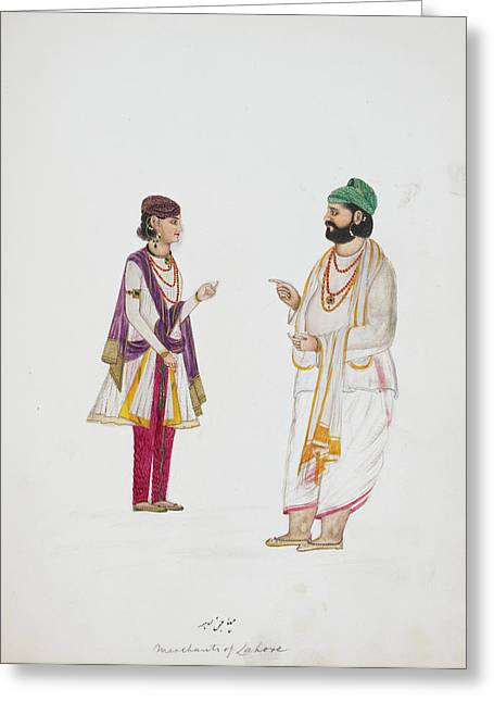Two Money-lenders Of Lahore Greeting Card by British Library