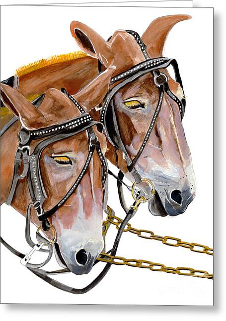 Two Mules - Enhanced Color - Farmer's Friend Greeting Card