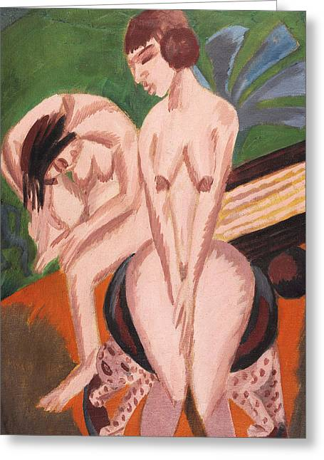 Two Nudes In The Room Greeting Card