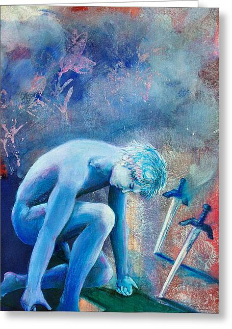 Greeting Card featuring the painting Two Of Swords by Rene Capone