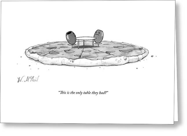 Two Olives Sit At A Small Table On A Pizza Greeting Card