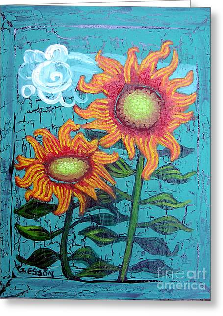 Two Orange Sunflowers Greeting Card by Genevieve Esson