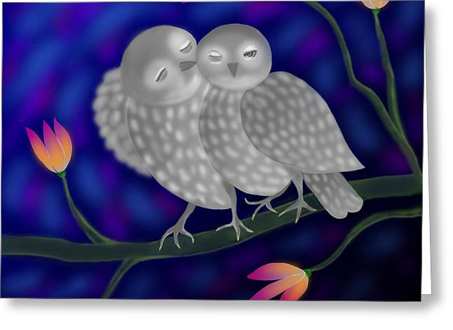 Two Owls Greeting Card by Latha Gokuldas Panicker