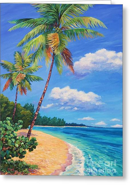 Two Palms In Paradise Greeting Card by John Clark