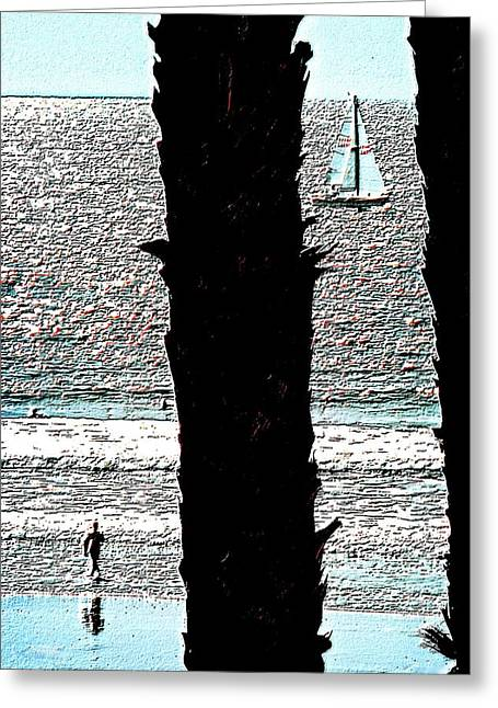Two Palms Sailboat And Swimmer Greeting Card by Brian D Meredith