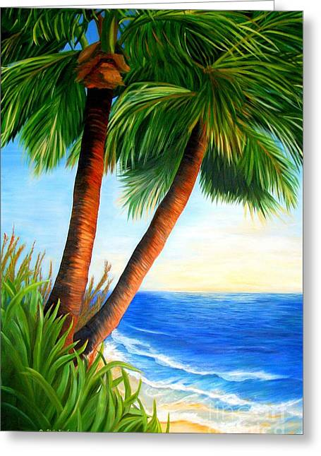 Two Palms Greeting Card by Shelia Kempf