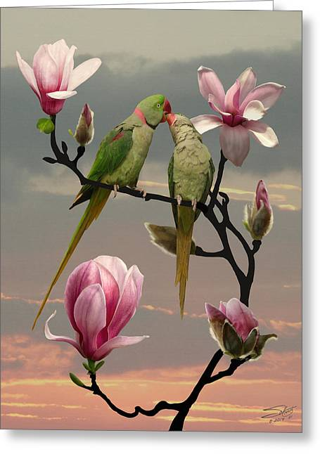 Two Parrots In Magnolia Tree Greeting Card