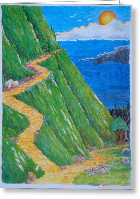 Greeting Card featuring the painting Two Paths by Matt Konar