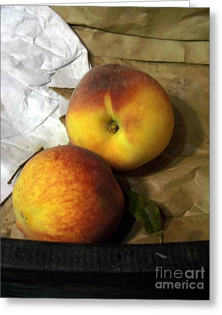 Two Peaches Greeting Card by Miriam Danar